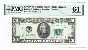 1969B $20 CHICAGO FRN, PMG CHOICE UNCIRCULATED 64 BANKNOTE, SCARCE