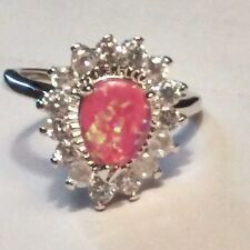 14K White Gold Filled Pink Fire Opal Ring Size 7