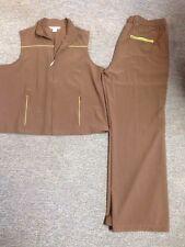 Cbk C B K Sport Pants Vest Brown Green Trim