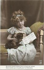 Photo PC AN Paris 1352 cute girl teaching her cat to read tinted around 1910