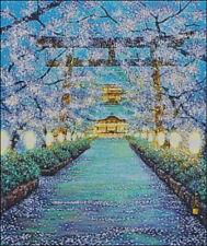 "Goldmilky cross stitch kit ""Japanese God Temple in Cherry flowers"" (c30)"