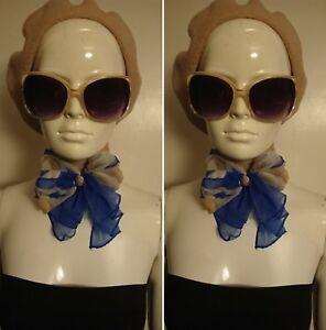 Vintage 1960's Blue/Beige Sheer Head/Neck Scarf.