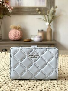 Kate Spade Natalia Quilted Leather Medium Compact Bifold Wallet in Brushed St