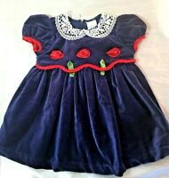 Holiday Dress infant baby girls 6-9 mo Blue Velvet  with Roses
