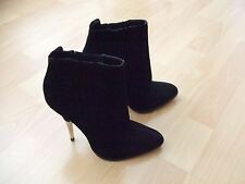 TOPSHOP Boutique Black Suede Pull On High Heel Boots Bootie Almond Toe 39 8 6
