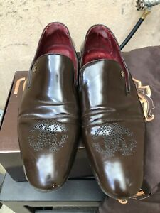 Roberto Cavalli mens brown leather shoes size 44