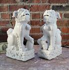 VTG Pair 10 5  CHINESE Blanc De Chine Porcelain Foo Dogs Hong Kong Ceramic Works