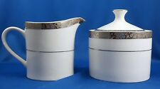 Florida Market Place Silver Scroll Creamer and Sugar Bowl Set Platinum Encrusted