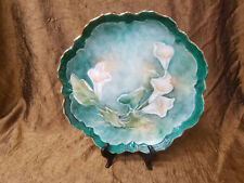 ANTIQUE VICTORIAN LILY GOLD TRIMMED CABINET PLATE GIFT SIGNED BY ARTIST 10.5""