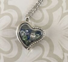 Heart Shaped Living Memory Locket Necklace With Encased Crystals