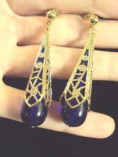 vintage modern filigree clear blue teardrop gold dangle drop stud earrings Avon