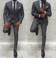 Men Gray  Slim Fit Groom Formal Suit Best Man Wedding Suit Tuxedos Custom Size