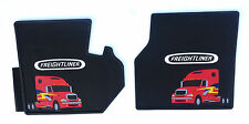Freightliner Columbia OEM Black Rubber Floor Mats 2 Pc Cab with Truck Logo