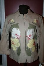 Ruby Rd women's jacket size 16  khaki with Jungle Jive floral applique