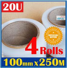 4 x Rolls CLEAR 100mm x 250m Meter 20um - Hand Use Stretch Bundling Film