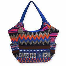 Catori Blue Gray Fushia Black Bohemian Chic Zipper Shoulder Handbag Tote Bag New