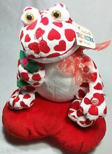 Jeremiah The Singing Valentine Frog Stuffed Animal White W Red Hearts