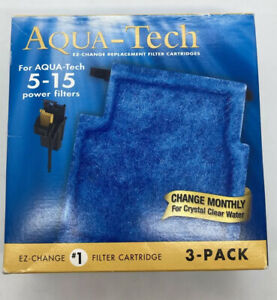 Aqua-Tech Power Aquarium Filter Fits 5 - 15 Power Filters 3 Pack