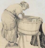 Weib am Waschtrog, Deutsch um 1900, Lavierte Blei- und Federzeichnung
