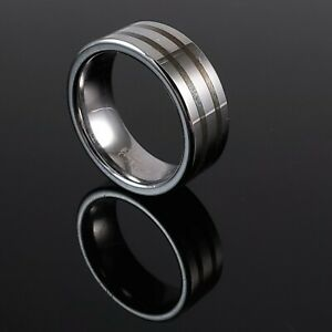 QG Tungsten Carbide Band With Sterling Silver Inlay. 8 mm , Size 7.5