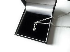 *UK* Woman Lovely Silver Key Heart Pendant Charm Necklace 18'' Jewellery Gift