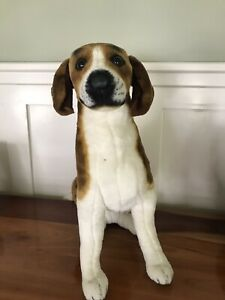 "Melissa & Doug Realistic Plush Beagle Dog 19"" Tall In Sitting Position"
