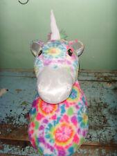Justice Retired Wall Mount Plush Tie Dye Rainbow Unicorn decoration girls tween