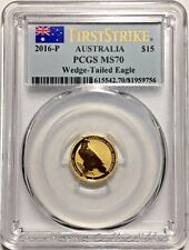 2016 Australia $15 1/10 oz. Gold Wedge Tailed Eagle PCGS MS70 First Strike FS