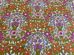 Jonelle Fabric Daisy Chain' by Pat Albeck Tangerine,Purple And Blue Cotton FQ