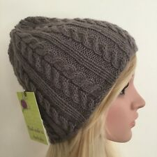 HAND KNITTED  LADIES LIGHT BROWN  WOOL-ALPACA  CABLED  PANEL BEANIE