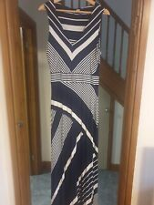 Monsoon Maxi Dress Blue & White Striped Size 14 Great Condition
