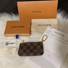 LOUIS VUITTON Cles Key Pouch DAMIER EBENE Canvas Coin Purse Bag Charm-AUTHENTIC!