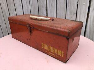 Vintage Industrial Rustic Red Sidchrome Model 100 Metal Toolbox Tool box Storage