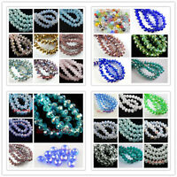 Mixed 100Pcs 4x3mm Faceted Glass Charms Beads Spacer Rondelle Finding 28Colors