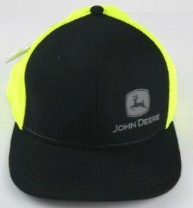 John Deere Mens Flat Bill HiVis Trucker Mesh Snapback Hat Cap LP73364