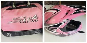 Motocross DIRTBIKE  Womens Girls Medium Thor Helmet Pink Pearl Snell DOT + Bag