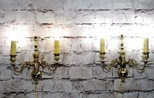 Antique Vintage Pair Brass Candle Sconce Figures 2 Lights Wall Lamps Fixture