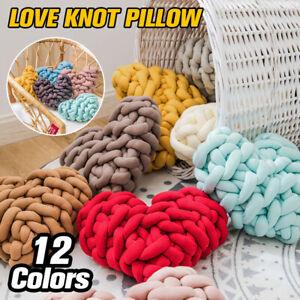 Handmade Weave Knot Pillow Cushion Heart Plush Throw Pillow Macaron Color Decor