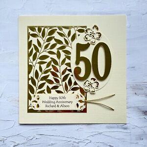 Handmade Personalised Golden 50 Wedding Anniversary Card