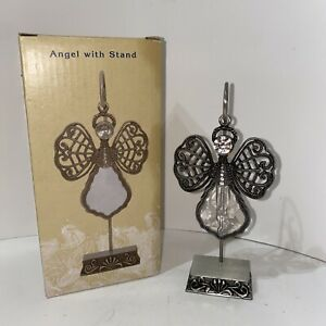 Cracker Barrel Exclusive Angel with Stand Silver Tone Metal Glass & Rhinestones