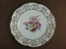 Weimar Germany Porcelain Plate Dora Pattern Roses Gold Rose Outlines on Rim
