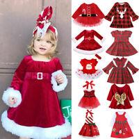 Christmas Toddler Kid Baby Girl Xmas Festival Flared Party Santa Swing Dresses