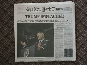 Trump Impeached New York Times NY Late Edition Newspaper December 19 2019