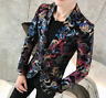 Mens Floral Print Slim Fit One Button Suit Party Outwear Casual New Blazers Coat