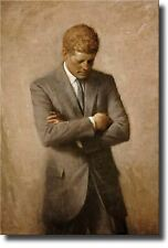 John F. Kennedy Full Portrait, JFK Wall Picture Art on Stretched Canvas, Ready t