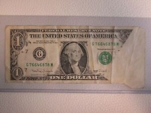Multiple Error $1 - One US Dollar - Fold Over Note w/ Cutting Error / Misprint