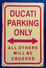 Ducati Parking Metal Sign / Vintage Garage Wall Decor (30 x 20cm) Motorcycle