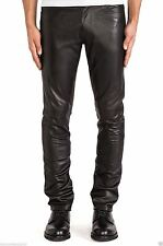 MEN'S MOTORCYCLE RIDER BIKER LEATHER PANTS JEANS STYLE BLACK Handmade All size