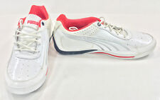 Puma Shoes SL Street Lo Basic White/Red/Silver Sneakers Size 8 EUR 40.5