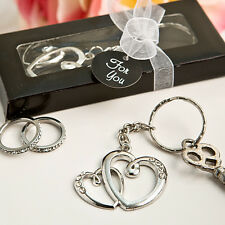 Intertwined Heart and Love Key Chain Favor Bridal Shower Wedding Party Favors